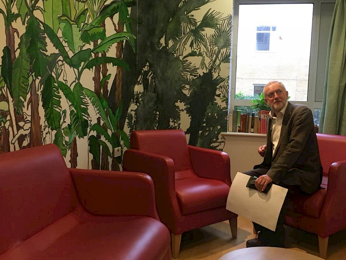 Jeremy Corbyn visits Hospital Rooms art project in dementia care unit News Item Thumbnail